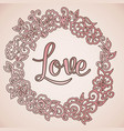doodle flowers wreath background and text vector image