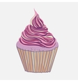 Vintage pink hand drawing cupcake vector image