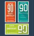 anniversasry background 90 years vector image vector image