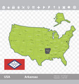 arkansas flag and map vector image vector image