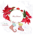 Background with bouquet of poinsettia and sock vector image vector image