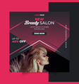 beauty salon social media post template design vector image vector image