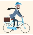 Black businessman on bike rides to work vector image vector image