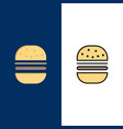 burger fast food fast food icons flat and line vector image vector image