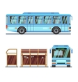 Bus stop and city bus vector image