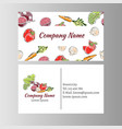 business cards template with vegetables icons vector image vector image