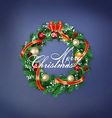 card with Christmas wreath vector image vector image