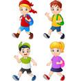 cartoon school children vector image vector image