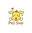 cartoon yellow dog with bone logotype Pet vector image vector image