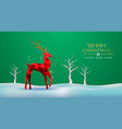 christmas new year red low poly 3d reindeer card vector image vector image