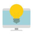 computer desktop with bulb vector image vector image