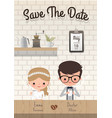 couple coffee wedding save date invitation vector image vector image
