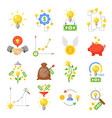 crowd funding icon set vector image vector image