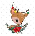 cute cartoon deer with christmas wreath vector image