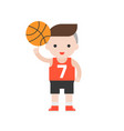 cute character basketball player in flat design vector image