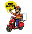 delivery guy riding scooter vector image vector image