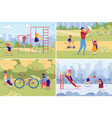 family and children sport workout leisure time vector image