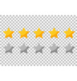 five rating stars icon for review product vector image vector image
