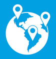 globe and map pointers icon white vector image vector image