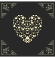 Golden heart in swirls elements for vard design vector image