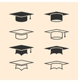Graduation cap logos set Graduation hat logo set vector image vector image