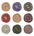 Hand drawn colorful Indian art ornaments in boho vector image vector image