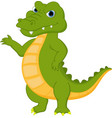 happy crocodile cartoon presenting vector image
