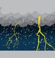 heavy rain and lightening in dark sky vector image