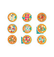 hot whole pizza set freshly baked pizza with vector image vector image
