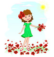 joyful young girl with red poppies flowers vector image vector image