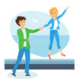 loving couple on warm day walks along waterfront vector image vector image