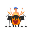 male drummer playing drums man sitting behind vector image vector image