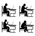 man silhouette sitting on chair and work on vector image vector image