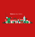 merry christmas banner festive winter city vector image
