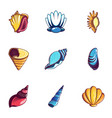 mussel icons set cartoon style vector image vector image