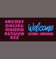 neon banner alphabet font bricks wall welcome vector image vector image