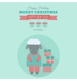 New Year card with sheep in flat vector image vector image