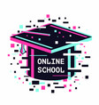 online school icon e-learning emblem internet vector image