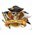pirate party 3d emblem vector image vector image