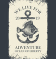 retro travel banner with ship anchor and fish vector image