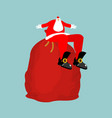 santa claus sitting on red bag isolated christmas vector image vector image