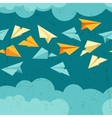 seamless pattern paper planes on sky vector image vector image