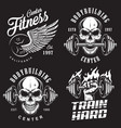 set bodybuilding emblems vector image