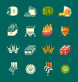 silhouettes and colorful flat beer icons vector image vector image