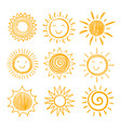 sketch sun icons hand drawn sunshine summer vector image