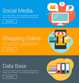 Social Media Shopping Online Data Base Flat Design vector image vector image