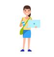 stylish school girl with handbag over shoulder vector image vector image