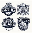 vintage soccer and baseball clubs logos vector image vector image