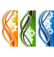 Wavy banners with gears vector image vector image