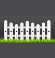 white wooden fence with green grass vector image vector image